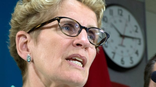 Ontario Liberal leader Kathleen Wynne speaks during a visit to Holy Cross school in Sault Ste. Maire, Ontario during a campaign stop on Tuesday May 20, 2014, 2014.