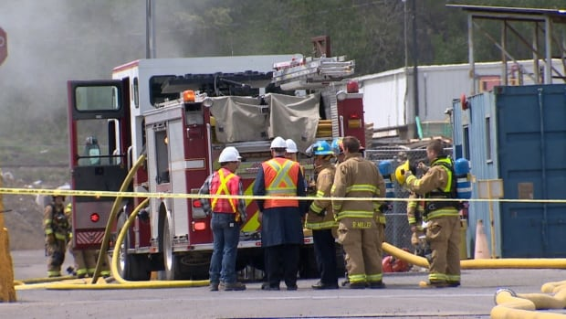 Fire crews attend a fire at Iko Industries on Tuesday afternoon.