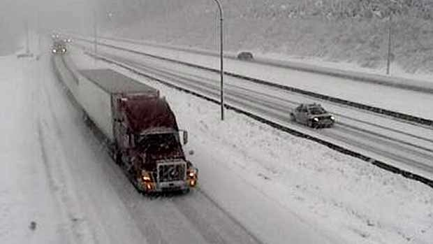 A storm crossing B.C. on Wednesday morning created winter driving conditions on the summit of Coquihalla Highway 5.