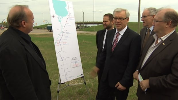Premier Greg Selinger on hand for the unveiling of a multi-million dollar project to improve parts of Highway 59.