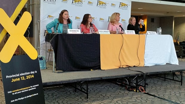Catherine Fife, at left at an all-candidates debate in Waterloo, said she would be interested in becoming the NDP's minister of savings and accountability if her party forms government.