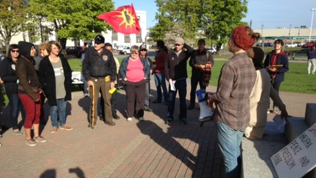 A Rename Cornwallis Park gathering was held in the park Wednesday evening.