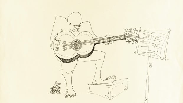 An untitled ink drawing by John Lennon of a guitar player is part of an 89-piece collection that will be auctioned by Sotheby's in New York on June 4, 2014.