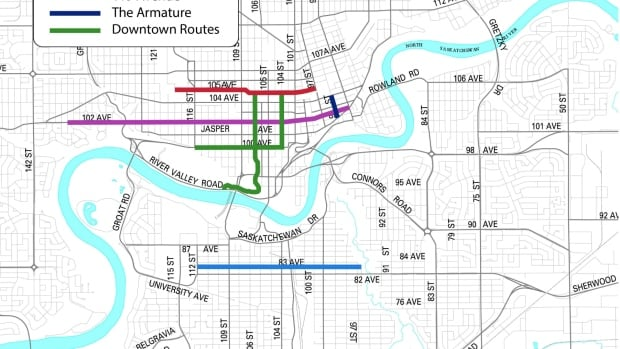 The city released this map of major bike routes to be built between 2014 and 2018, pending budget approval.