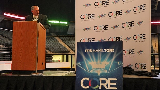 Scott Warren, general manager of Core Entertainment (formerly HECFI), announces the new name at a Thursday new conference at Hamilton's FirstOntario Centre.