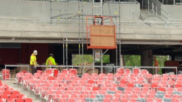 Work on Lansdowne Park continues to get the stadium ready for the Ottawa RedBlacks July 18 home opener.