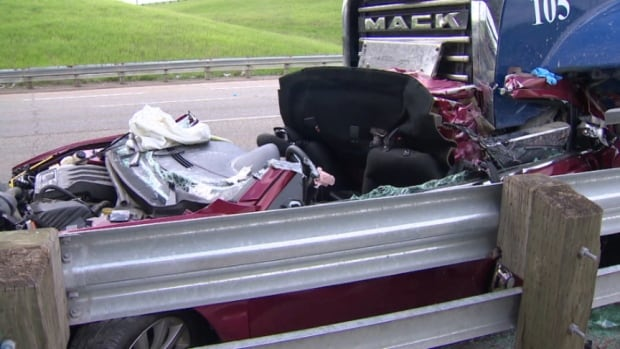The driver of the Mack dump truck has been charged with careless driving after allegedly causing a seven vehicle pile up.