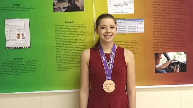 Brenna Howatt won bronze for her project on distracted driving at the Canada Wide Science Fair.