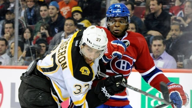 Patrice Bergeron of the Boston Bruins and P.K. Subban of the Montreal Canadiens are the two finalists in the battle for the cover of EA Sports's annual NHL video game.