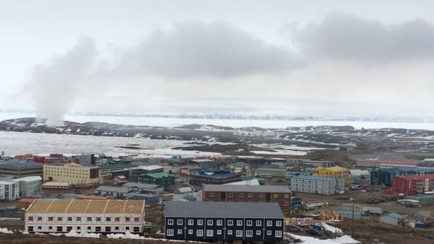 Smoke from the fire at the Iqaluit landfill can be seen from anywhere in the city. Greg Babstock tweeted this photo May 29, a week and a half after the city council voted to stop fighting the blaze.