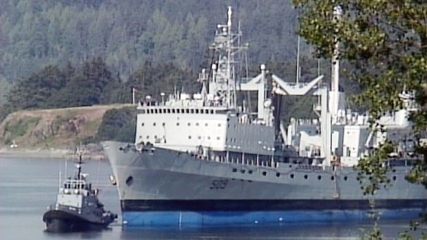 HMCS Protecteur, damaged in a fire in February while at sea, made it back to B.C. waters on Saturday.
