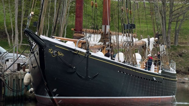Bluenose II, Nova Scotia's sailing ambassador, waits in port in Lunenburg, N.S. on Wednesday, May 28, 2014. Pre-sea trials have been postponed while the government waits for an American Bureau of Shipping certificate to allow the vessel to leave the dock.