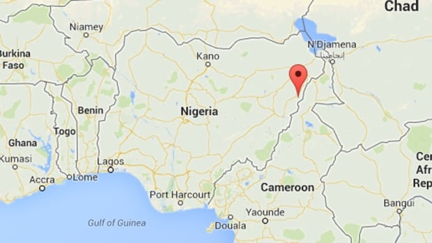 A marker on this map of Nigeria shows the town of Mubi, the site of a deadly bombing that left many people killed on Sunday.