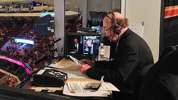 Bob Cole, as seen preparing for Game 7 of the Western Conference finals between the Chicago Blackhawks and the Los Angeles Kings.