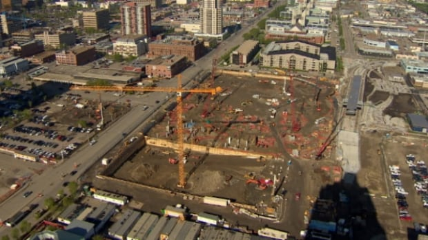Construction started on the new downtown arena this spring.