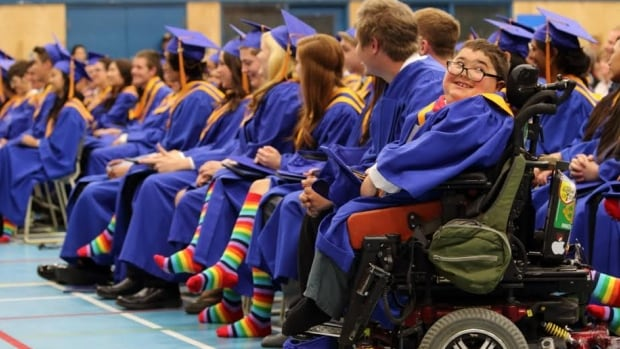 More than half of the graduating students at Vanier Catholic Secondary School in Whitehorse wore rainbow socks at their cap and gown ceremony this weekend to support their school's gay-straight alliance.