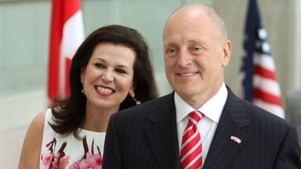 U.S. Ambassador to Canada Bruce Heyman - shown with his wife Vicki making their way into the National Gallery of Canada Monday night - focused largely on the 'positive' aspects of the bilateral relationship that some critics argue has weakened in recent years during his speech.
