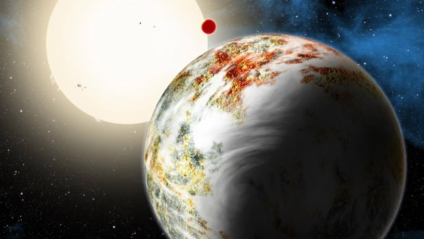 "The newly discovered ""mega-Earth"" Kepler-10c, which dominates the foreground in this artist's conception, has a diameter 2.3 times as large as Earth's, and weighs 17 times as much. Its sibling, the lava world Kepler-10b, is in the background."