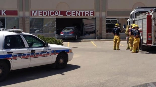 A car was half in and half out of the Landmark Medical Centre after it crashed into the building Tuesday afternoon.
