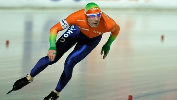 Ted-Jan Bloemen competes during the men's 5,000 metre race at the European Speed Skating Championships in 2012.