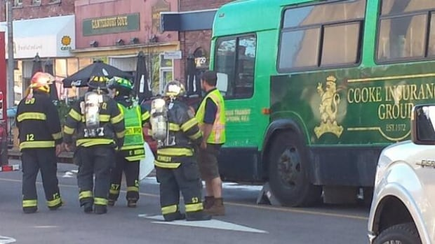 The bus left diesel fuel leaking down Queen Street in Charlottetown.