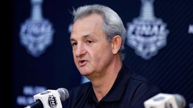 Los Angeles Kings head coach Darryl Sutter speaks during a news conference Tuesday.