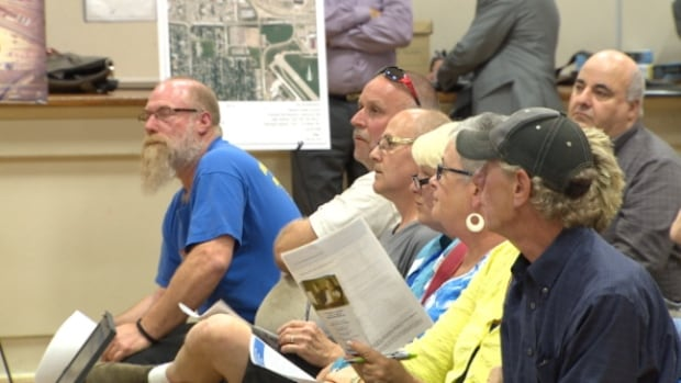 About 100 people attended a meeting with Greyhound officials at Prince Charles school Tuesday night.