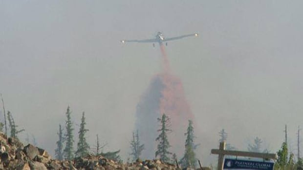 A water bomber was required to help control a forest fire in the Hanwell area on Tuesday night.