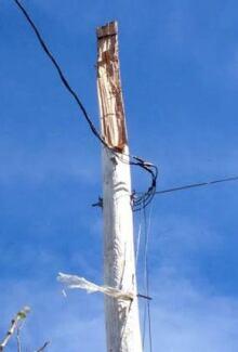 Damaged light pole on Humber Road