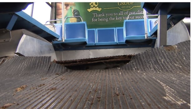 The fuel tank of the bus was pushed up through the floor when it hit the roadwork on Queen Street in Charlottetown.