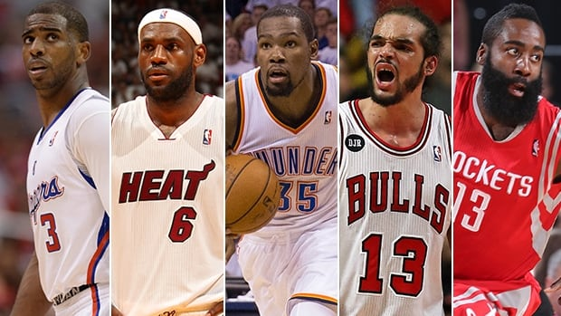 From left to right, Chris Paul, LeBron James, Kevin Durant, Joakim Noah, James Harden were named to the NBA 1st-team on Wednesday.