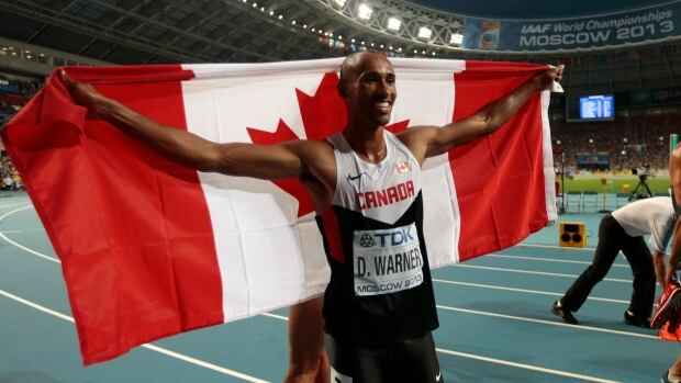 Canada's Damian Warner celebrates after placing third overall following the men's decathlon at the world championships last year.