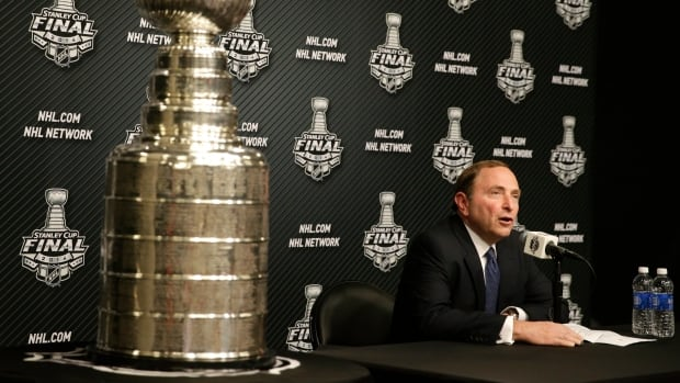 NHL Commissioner Gary Bettman speaks during a news conference before Game 1 in Los Angeles on Wednesday.