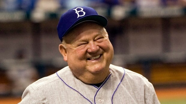 Don Zimmer, is shown wearing a commemorative hat of the 1955 world champion Brooklyn Dodgers during a 2007 ceremony.