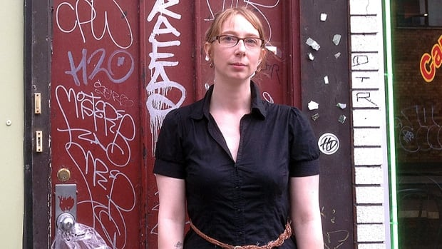 Ashleigh Delaye was nearly hit by a falling window pane last week at the corner of St-Viateur Street and St-Laurent Boulevard.