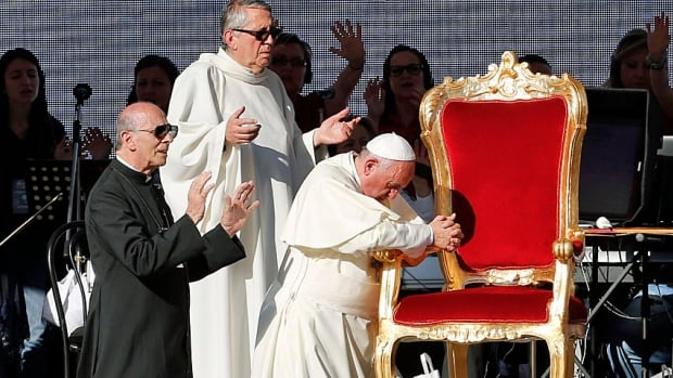 The Pope at prayer. Francis prays during a meeting of the Renewal of the Holy Spirit organization before tens of thousands at the Olympic stadium in Rome on June 1. Sunday's prayer meeting with Shimon Peres and Mahmoud Abbas will be much more modest.