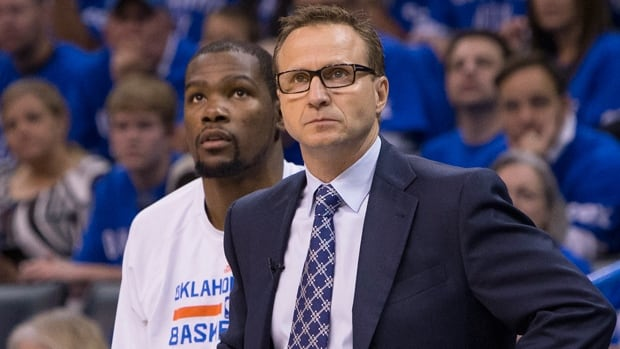Head coach Scott Brooks, right, and NBA MVP Kevin Durant led the Thunder to the Western Conference finals this season.