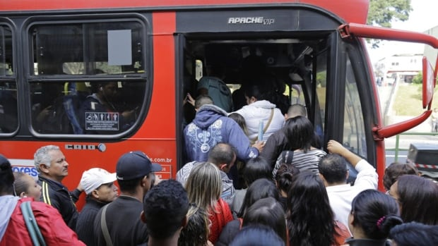 Sao Paulo, which will host the World Cup opening match in a week, was thrown into transit chaos Thursday as subway and overland commuter train operators went on strike, putting at risk the only means that most soccer fans will have to reach the stadium.