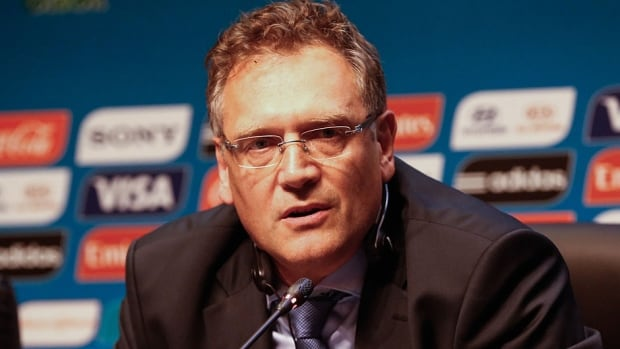 Jerome Valcke, general secretary of FIFA, speaks to the media following the last session of the organizing committee for the World Cup on Thursday in Sao Paulo, Brazil. Valcke says it's normal there's still work to be done in some of the stadiums, including the addition of seats and the installation of generators.