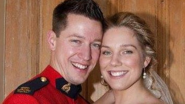 Const. Dave Ross, pictured here with his wife on his wedding day, was one of three Mounties killed in Moncton, N.B., on Wednesday night.