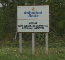 Sign for site of new hospital in Corner Brook