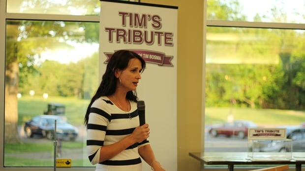 Sharlene Bosma delivered a speech at the Tim's Tribute golf tournament.