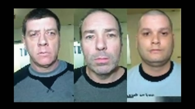 Denis Lefebvre, left, Serge Pomerleau, centre, and Yves Denis escaped from the Orsainville Detention Centre in Quebec City Saturday evening with the help of a helicopter.