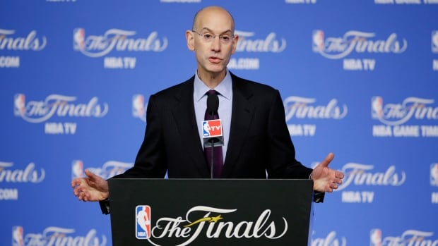 Commissioner Adam Silver speaks during a news conference before Game 2 of the NBA Finals on Sunday.
