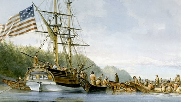 The Lady Washington is depicted in an artwork at SGang Gwaay, in the waters of Gwaii Haanas, while trading with the Haida for sea otter pelts in 1791. The Ino would have been the same rig and tonnage as this vessel and carried a crew of around 22.