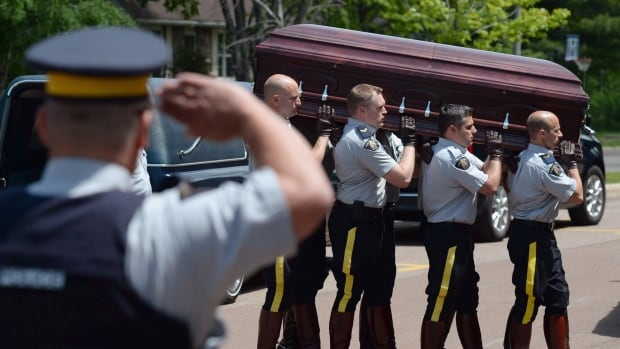 RCMP carry the casket of a fallen colleague into Wesleyan Celebration Centre for visitation in Moncton on Monday June 9, 2014. THE CANADIAN PRESS/Sean Kilpatrick