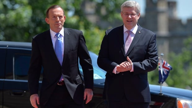 "Australian Prime Minister Tony Abbott, seen here with  Canadian Prime Minister Stephen Harper, said their two countries have a ""strong and deep"" security and intelligence relationship."