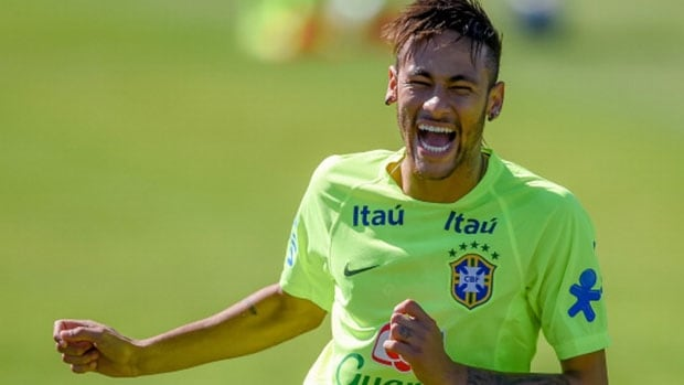 Neymar refused to let a boy who invaded Brazil's training session on Monday go away disappointed.
