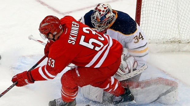 Carolina Hurricanes forward Jeff Skinner was called for goalie interference with Buffalo Sabres netminder Michal Neuvirth on this play in a March 13 game.
