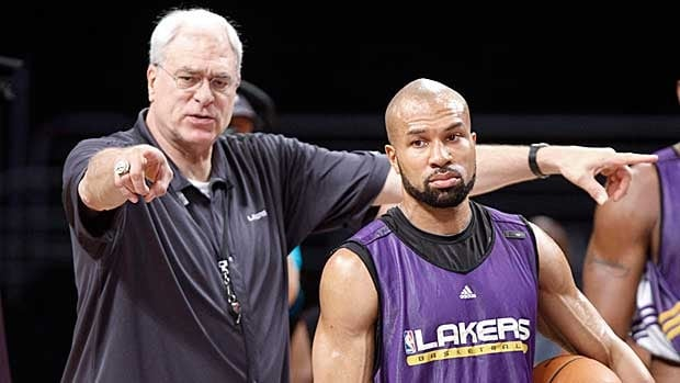 Derek Fisher, right, played for Phil Jackson, left, for several seasons in Los Angeles.